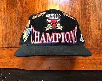 fc089b3367a Vintage 1997 Chicago Bulls Championship Michael Jordan NBA Basketball Snapback  Hat