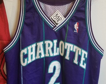 Vintage 90s Champion Authentic Charlotte Hornets Larry Johnson Unisex Jersey c5078dfb4
