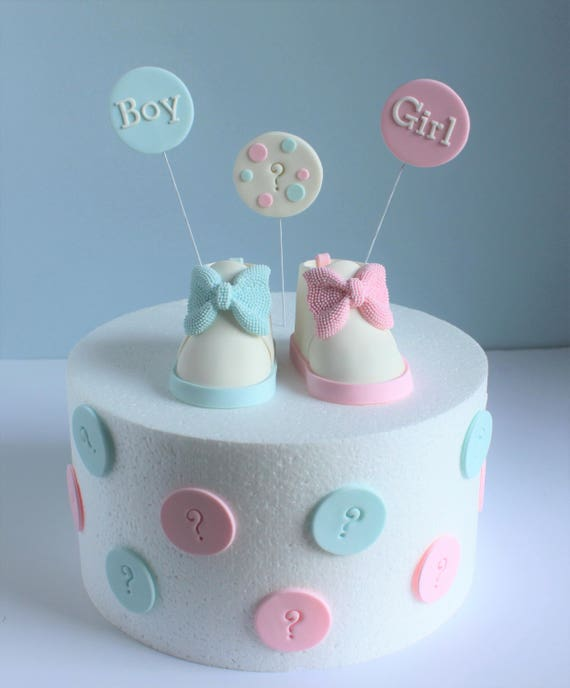 Gender Reveal Cake Topper Set Fondant Baby Shoes Pink and | Etsy
