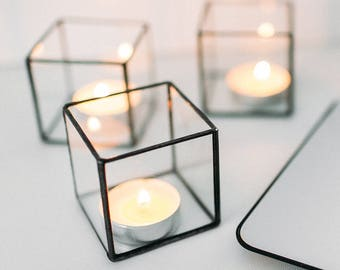 Glass cube candle holder - Wedding decor - Geometric terrarium - Wedding ring box - Candleholders set - Table decorations - Centerpiece