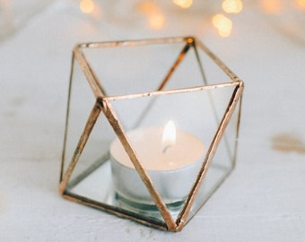 Glass candle holder with mirror base - Wedding Candle holder - Candle holder - Geometric terrarium - wedding ring box - Candleholders set
