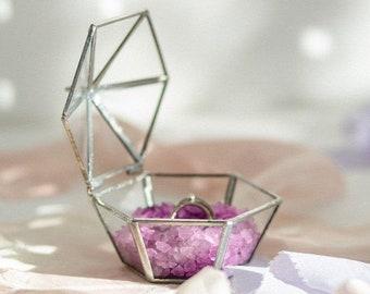 Engagement box - Proposal - Wedding - Ceremony - Bands box - Jewelry - Ring bearer box - Glass bands holder - Classic Wedding - Ringkissen