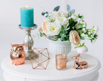 Copper wire decor - Wedding Copper decor - Candleholders - Geometric decorations - Table centerpiece - Wedding Candle holder