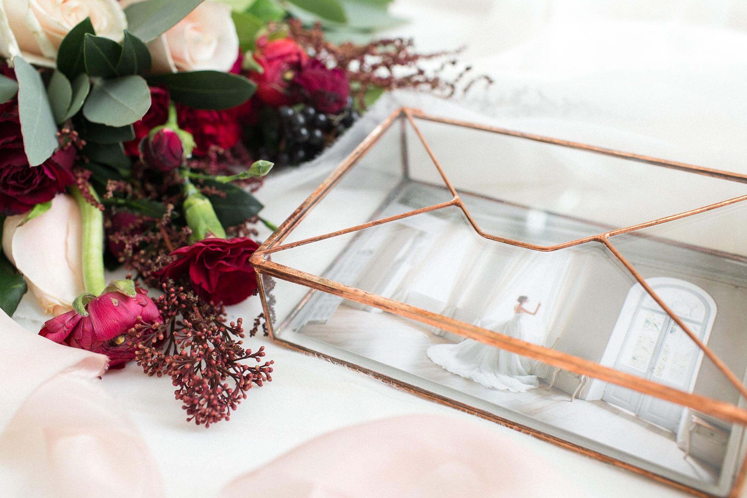 Glass Photo Box - Wedding Photo Box Jewelry Newlywed Gift Ring Small ...