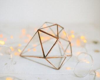 Glass Crystal - Wedding table decor - Ring box - Jewelry box - Geometric Terrarium - Glass Planter- Home decor - Wedding ring pillow