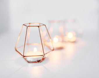 Copper wire - Copper wire decor - Wedding Copper wire - Candleholders - Geometric Copper wire - Candle holder - Wedding Candle holder  set