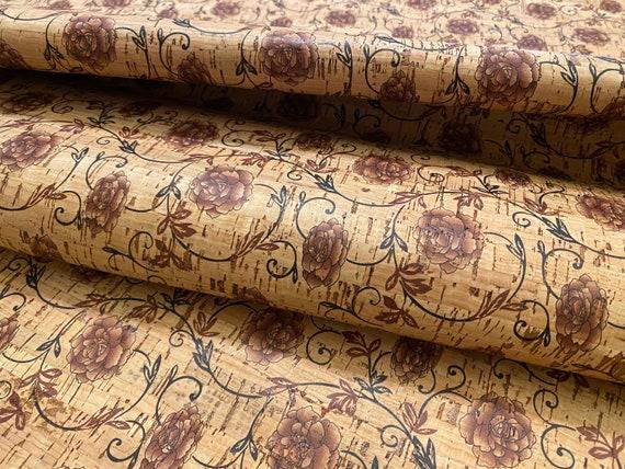 Distressed Garden leather alternative stitching natural cork 50x70cm Sheet PETA Made in Portugal Eco-Friendly Vegan Cork fabric