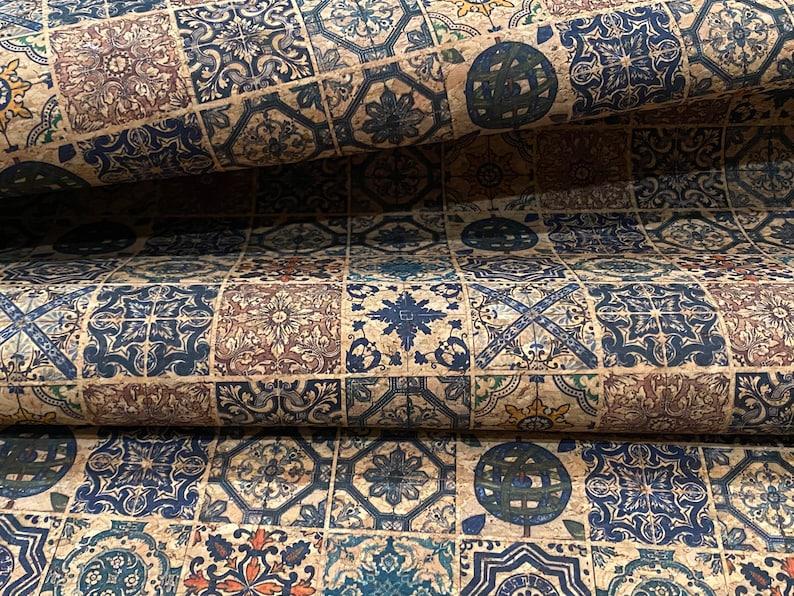Mosaic Tile Cork Faux Leather Sheet Fabric Sheet Natural Cork Fabric Eco Friendly Cork Fabric Portugal Cork