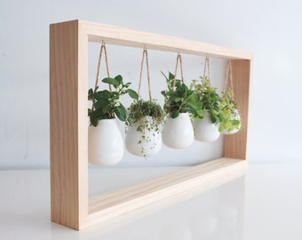 Indoor Herb Garden In Wooden Frame | Wall Mount Succulent Planter |  Housewarming Gift | White Ceramic Pots | Hanging Planter | Wall Art