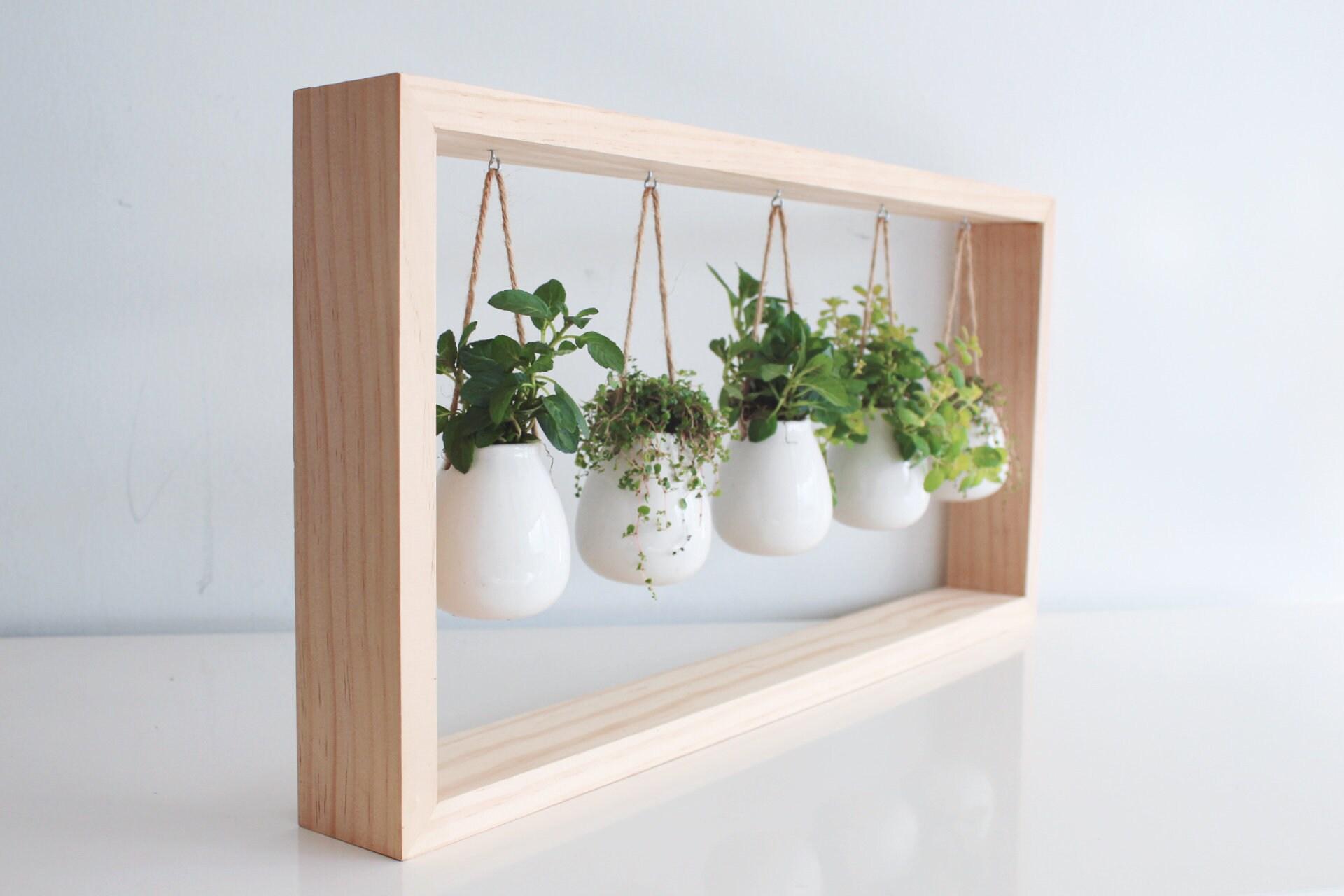 Indoor Herb Garden In Wooden Frame Etsy
