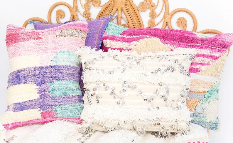 Moroccan Wedding Blanket Cushion Cover Handira Blanket Cushion image 0