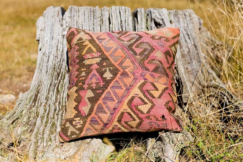 Turkish Kilim Cushion Cover / Kilim Pillow Cover / Turkish image 0