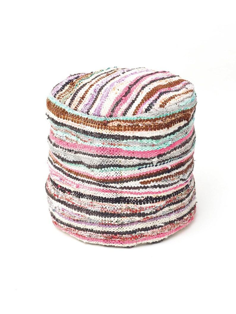 Moroccan Kilim Pouf Floor Cushion Cover / Kilim Boucherouite image 0