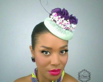 Mint Green Pillbox, Purple Silk Flower, Vintage Inspired Hat, Feather Accented Hat, Mini Cocktail Hat, Wedding Hat,