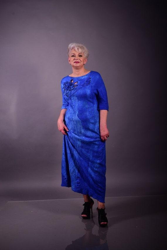 Merino Wool Plus Size Maxi Long Dress Elbow Length Sleeve Blue Etsy