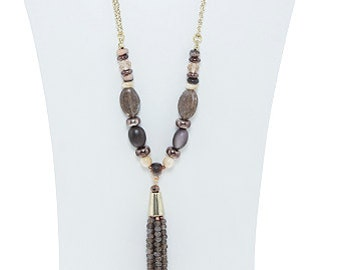 Faux Stome Beaded Tassle Necklace