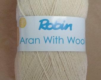 WOOL - Robin aran wool - 400g - oyster - wool - yarn - rationed - cream - aran - washable - free UK delivery - knitting - crochet