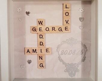 Personalised Wedding Scrabble Art Frame