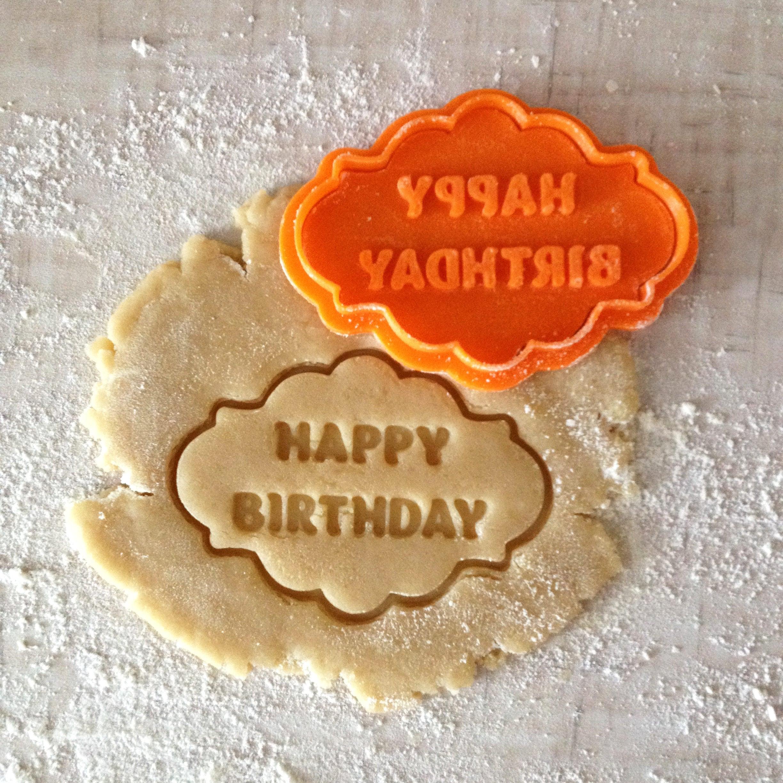 Happy Birthday Cookie Cutter. Plaque Cookie Cutter. Happy