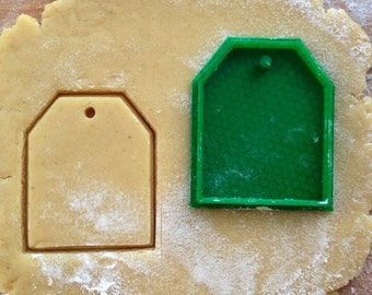 Tea bag cookie cutter. Tag cookie stamp
