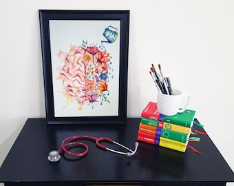 Medical Anatomy Art- Stunning Watercolour Flower Brain PRINT