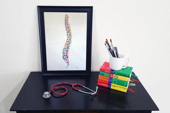 Anatomía médica acuarela arte pintura completa columna | Etsy