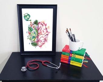 Medical Anatomy Art- Stunning Watercolour Jungle Brain PRINT