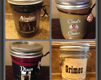 The Walking Dead 4 Candle Collection. Negan, Carol, Grimes, Dixon, TWD, Zombie