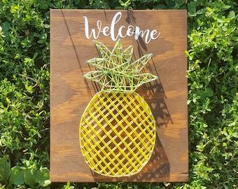Pineapple String Art- Pineapple Decor - Pineapple Teaching - Pineapple Sign- Welcome Pineapple - Pineapple - String Art Pineapple Sign