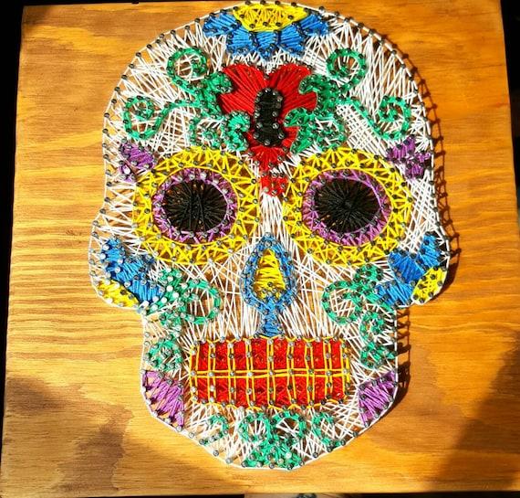 Sugar Skull String Art Sign Sugar Skull Wall Decor Dead of
