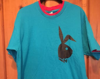 Playboy Vintage Blue and Pink Large Iron On T-Shirt