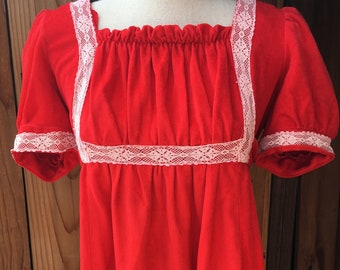 1970s Red Orange Dress with White Lace Detail