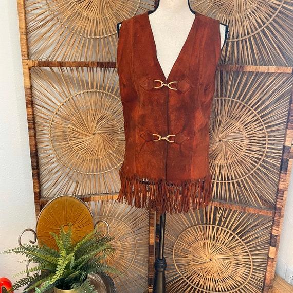 Vintage 1970s Suede Fringe Vest