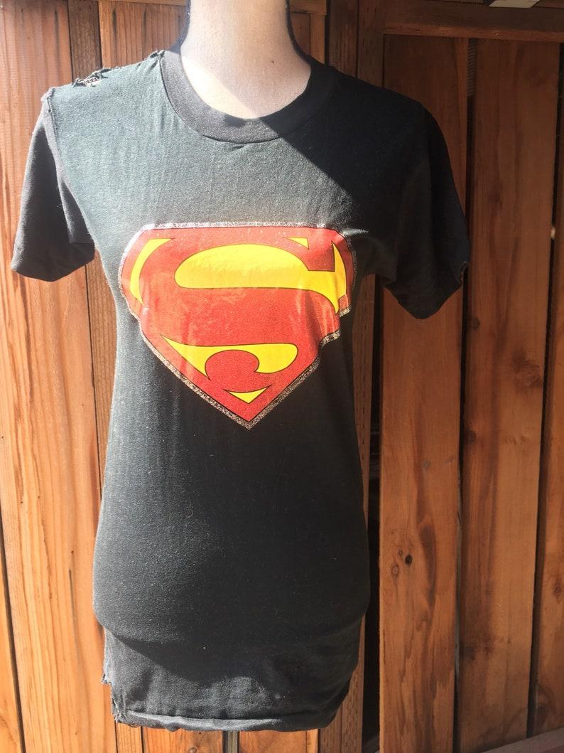 e5fdedfabf4 Vintage 1970s Superman Distressed Iron On T-Shirt VTG 70s