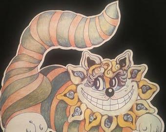 Cheshire Cat Alice In Wonderland Black Vintage 1970s Iron On T-Shirt