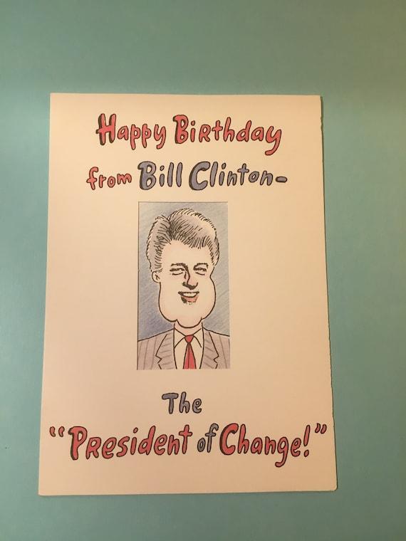 Vintage President Bill Clinton Birthday Card Old Card Etsy