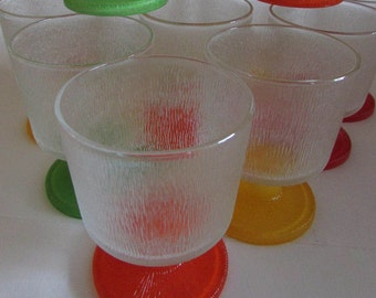 Vintage Ice Cream Glasses.  They are sweet, short and stemmed, colorful and in great condition.