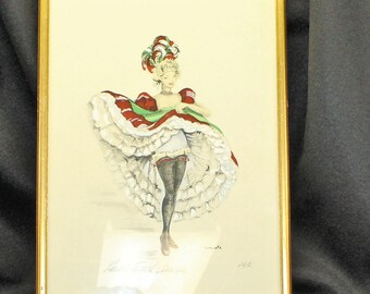 Watercolor artist signed French can can girl watercolor. Boudoir art. Parisian art. Signed by Janicotte.