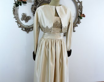 Vintage Victoria Royal Ltd gown and jacket spectacular ensemble gala attire opening piece beaded mink cuffs vintage size 10 champagne color