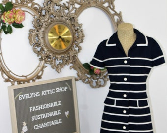 Vintage Navy and White Striped Dress with short sleeves and white button details.  Classic Dalton in the Trevira dress.