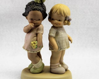 "Girl Figurine by Enesco.  Little Girls figurine ""How good of God to make us all"" Limited Edition Numbered 1824.  Collectible Child Statue."