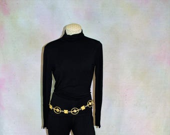 Gold chain belt. Belt with Horse and Lion Head accents.  Versace like gold chain belt. Equestrian regal style