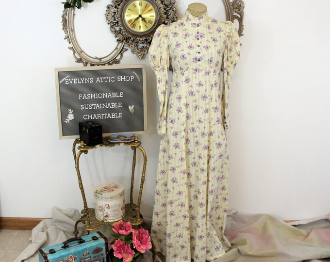 1970's Long Peasant Dress with Cream and Purple Floral Print with high neck and Juliet sleeves.  Hand Made Vintage Dress Boho Chic Maxi.