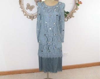 Blue Lace and Fringe Formal Dress Size 10 Unused Dead Stock. Sequin Lace and Fringe Dress Vintage size 10 by Ricki Lang for Neiman Marcus.