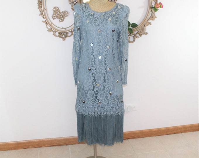 Blue Lace Dress with Fringe. Formal Dress Size 10 Unused Dead Stock. Sequin Lace and Fringe Dress Vintage by Ricki Lang for Neiman Marcus.