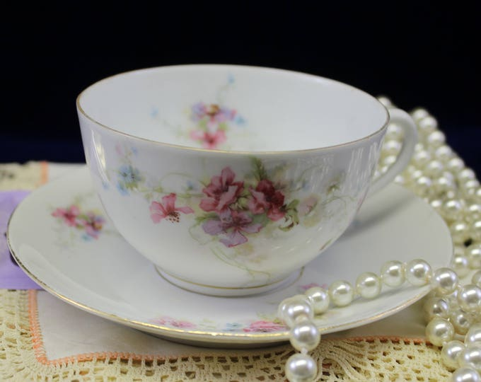 floral Tea Cup and Saucer by LS and S Carlsbad.  1930's teacup and saucer perfect for Tea Party
