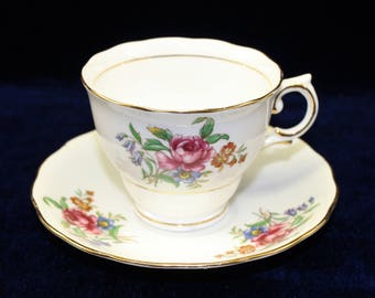 Vintage Fine Bone China Floral Tea Cup with Matching Saucer by Colclough.  English Teacup and Saucer.