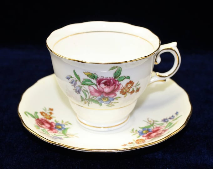 Fine Bone China Floral Tea Cup with Matching Saucer by Colclough.  English Teacup and Saucer.