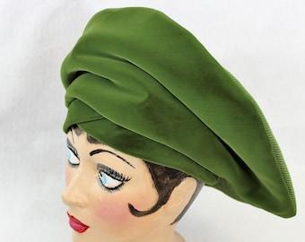 Women's Velvet Hat Unique Structured.  Unique Green Velvet by designer Oleg Cassini. Vintage Hat circa 1960's.