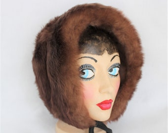 Fur Hat Hood. Brown Lamb Skin Hat.  Woman's Winter Head Gear with Chin Ties. Vintage hat
